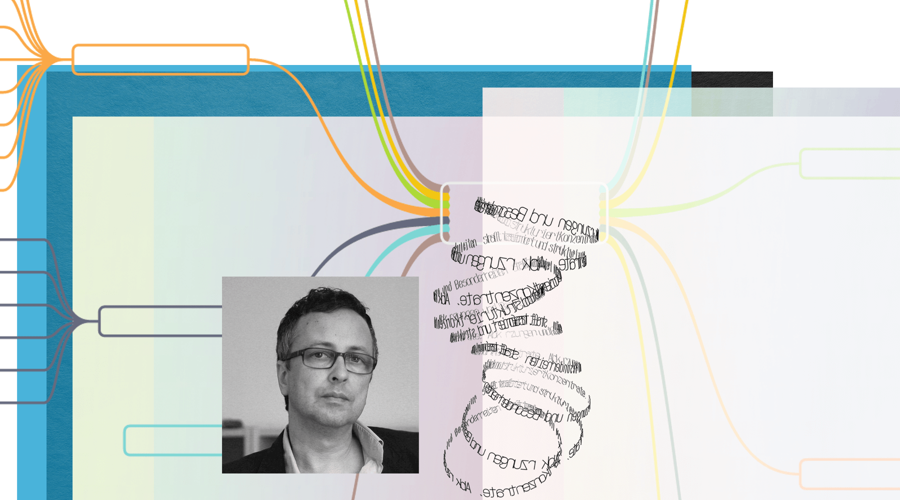 Fotografie von Matthias Ring, Mitinhaber der IconScreen GmbH; die Fotografie ist calloagiert mit mit Textelementen, Auszügen einer SiteMap und farbigen Flächen.