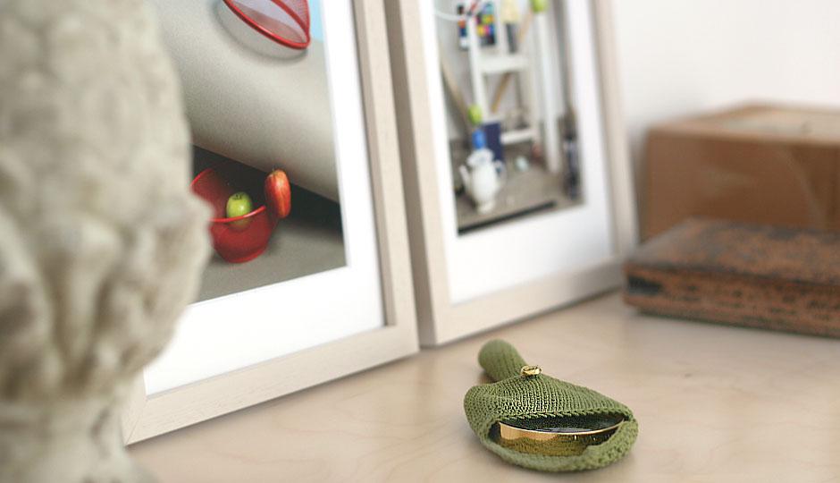 eine goldene Lupe in einem grünen Stick-Etui liegt auf einem Bücherregal
