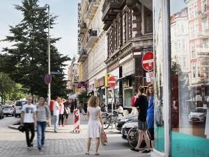 Straßenszene Schanzenviertel, Schulterblatt Ecke Eifflerstraße