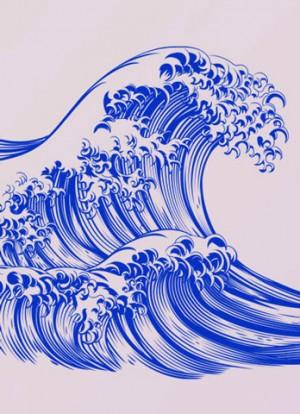 Große Welle vor Kanagawa. Illustriert von Katsushika Hokusai, Japan, 1829
