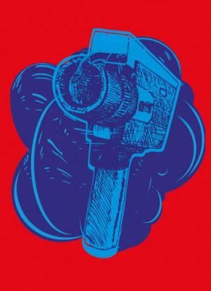 Flyer-Motiv Filmfestival; gezeichnete Super-8 Kamera über blauer expressiver Wolke, auf roten Farbhintergrund