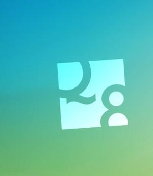Logo Q8 Sozialraumorientierung auf grün-blau Verlauf.