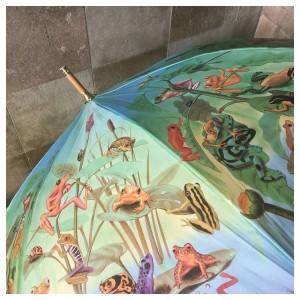 ein aufgespannter Regenschirm mit Wassertieren als Motiv