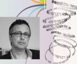 Fotografie von Matthias Ring, Mitinhaber der IconScreen GmbH; die Fotografie ist calloagiert mit Textelementen und Auszügen einer SiteMap.